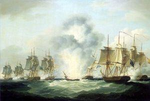 Four frigates capturing Spanish treasure ships 5 October 1804 by Francis Sartorius C National Maritime Museum